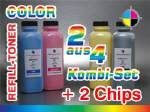 Kombi-Set für HP 2820 Color (2 aus 4) + 2 Chips